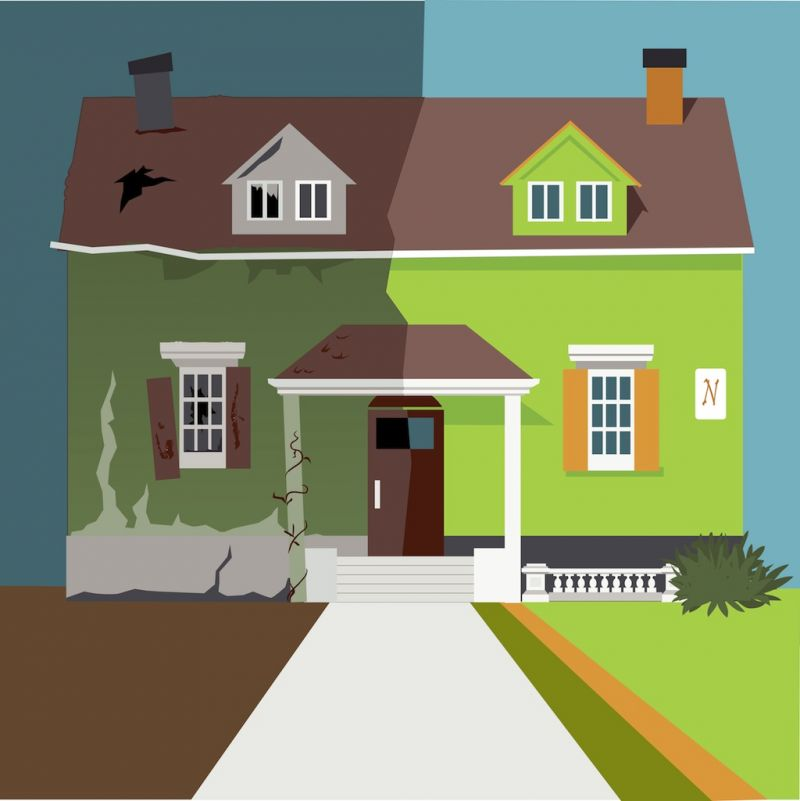 Illustration of a house, old and dilapidated on one side, and clean and new on the other.